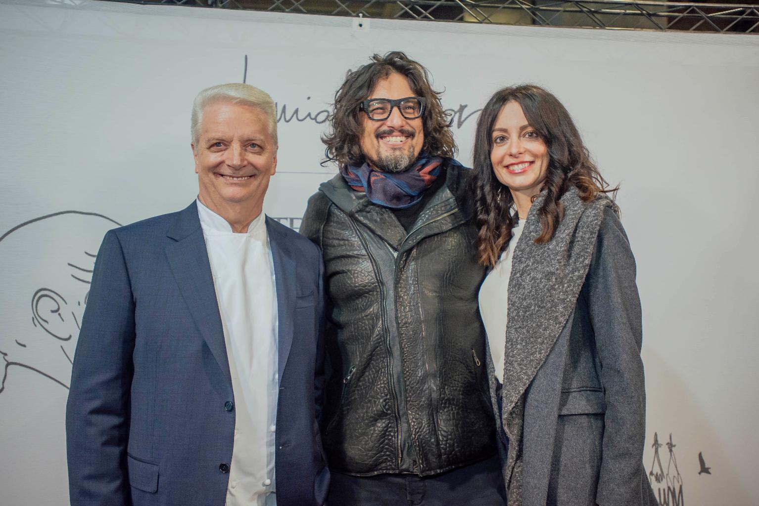 Iginio Massari con la figlia Debora e Alessandro Borghese