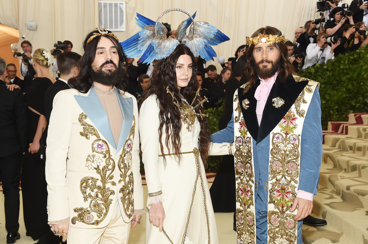 NEW YORK, NY - MAY 07:  Alessandro Michele, Lana Del Rey and Jared Leto attend the Heavenly Bodies: Fashion & The Catholic Imagination Costume Institute Gala at The Metropolitan Museum of Art on May 7, 2018 in New York City.  (Photo by Jamie McCarthy/Getty Images)